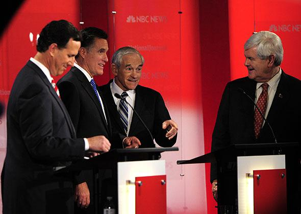 Rick Santorum (L), Mitt Romney (2L), Newt Gingrich (R) and Ron Paul (2R) take part in The Republican Presidential Debate.