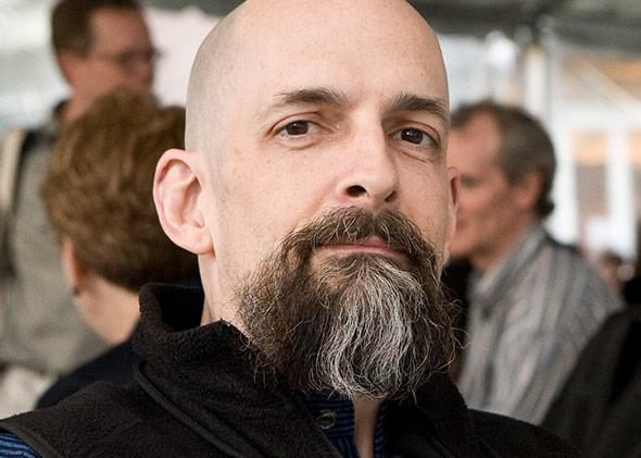 U.S. novelist Neal Stephenson at Science Foo Camp 2008.