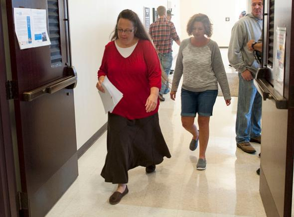 Kim Davis at the Rowan County Courthouse in Morehead, Kentucky, on Sept. 14, 2015