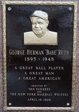 Babe Ruth plaque. Click image to expand.