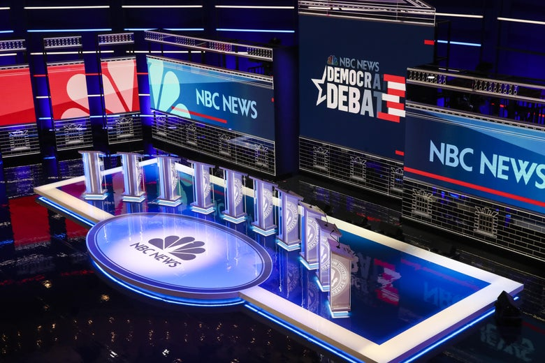 The empty stage boasting the NBC News logo that will soon host the candidates in the first DNC presidential debate.