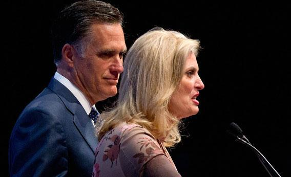 Republican presidential candidate and former Massachusetts Governor Mitt Romney (L) and his wife, Ann Romney, speak during the NRA's Celebration of American Values Leadership Forum at the NRA Annual Meetings and Exhibits April 13, 2012