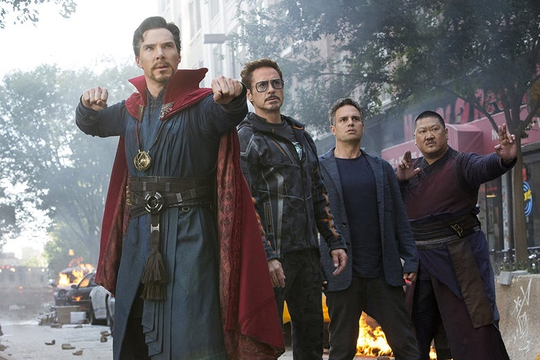 Benedict Cumberbatch, Robert Downey Jr., Mark Ruffalo, and Benedict Wong in Avengers: Infinity War.