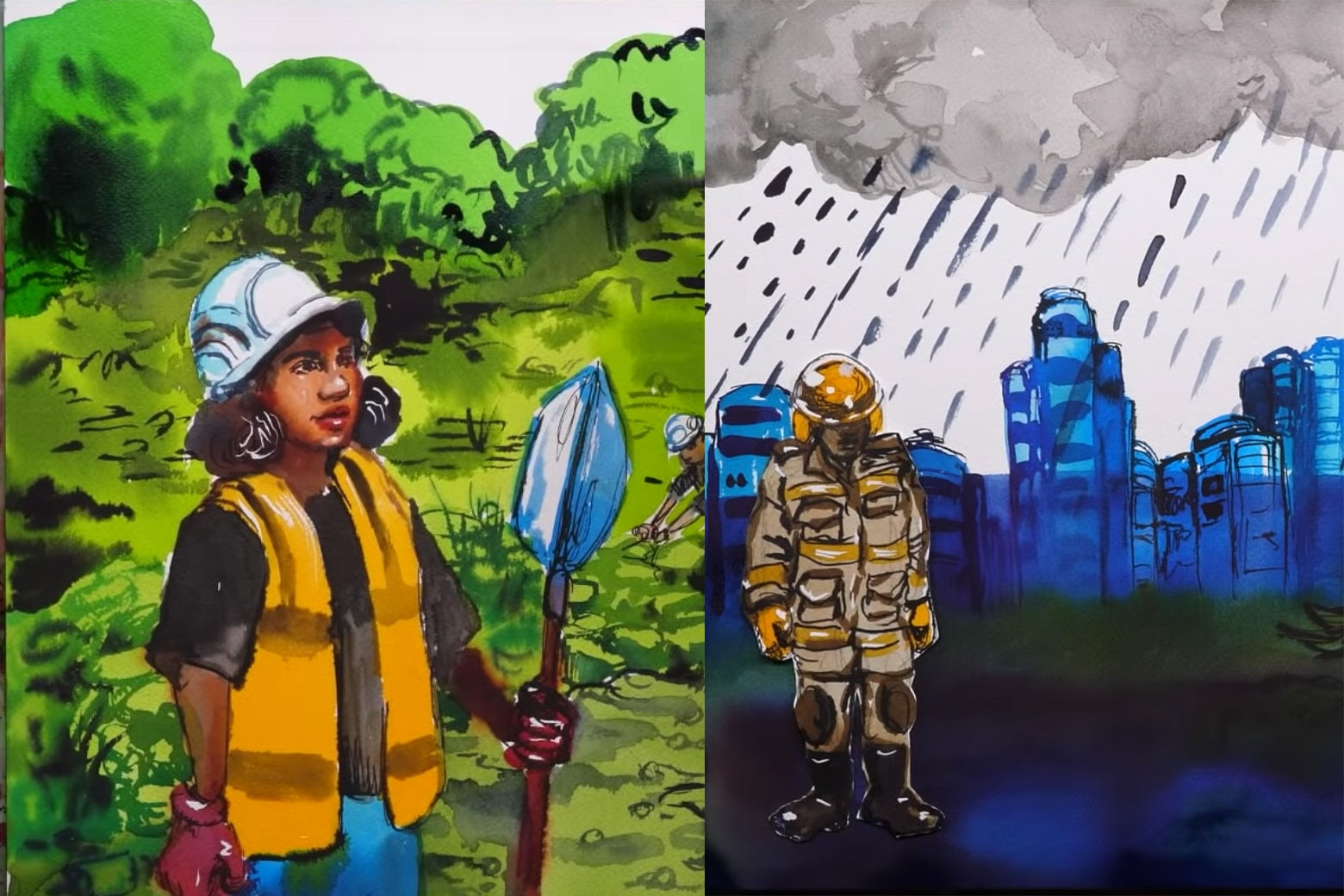Screengrabs of two images from the video: On the left, a woman of color stands while wearing a hard hat and holding a tool in a lush green landscape. On the right, an industrialized shadowy figure stands in a bleak rainstorm.