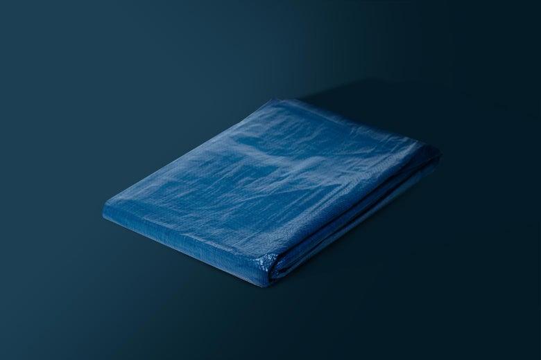 A folded-up blue tarp.