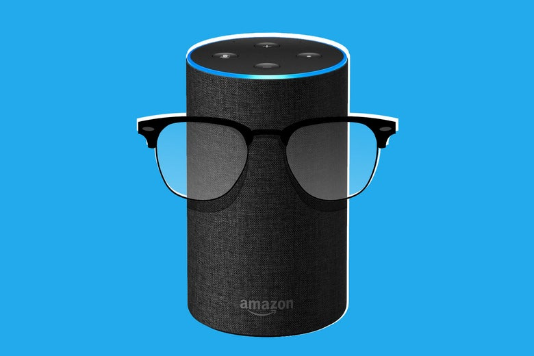 An Amazon Echo wearing glasses.