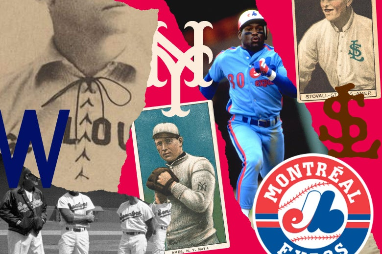 Logos, memorabilia, and players from the Washington Senators, Montreal Expos, St. Louis Browns, and New York Giants.