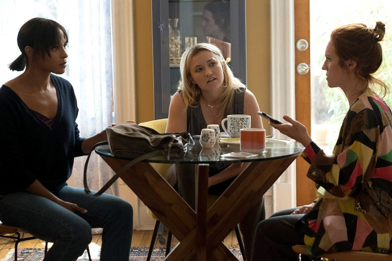 Megalyn Echikunwoke, Emily Osment, and Brittany Snow in Almost Family