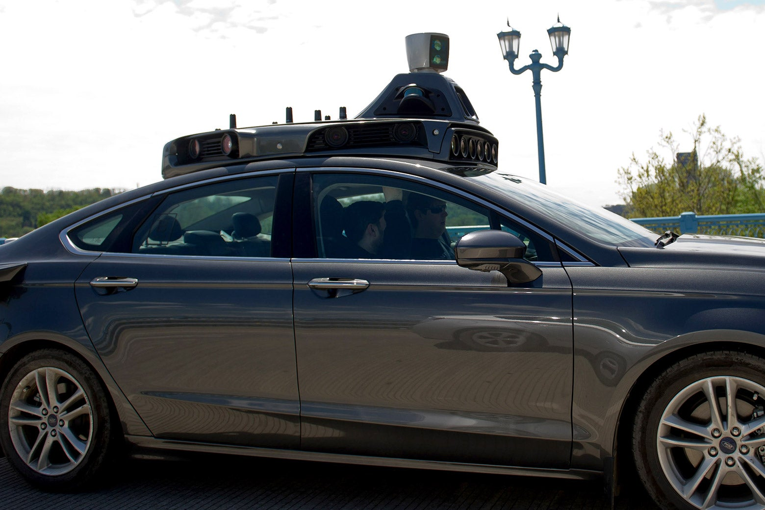 An Uber automated vehicle taking a test-drive on the 31st Street Bridge in Pittsburgh.