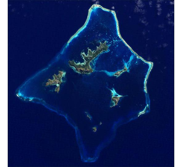 Gambier Islands from space.
