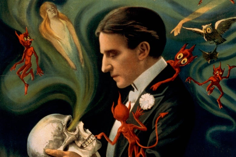 An illustration from a 1910s advertisement for a magician, staring into a skull he is holding, as ghosts fly from the eye sockets.