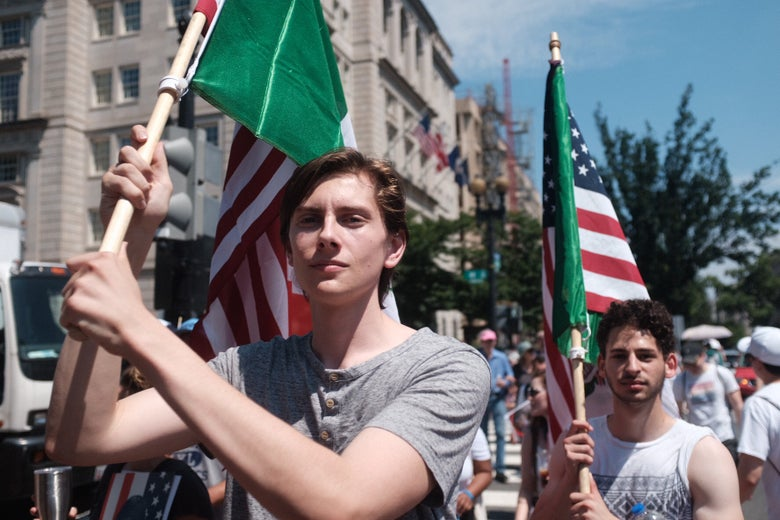 Protesters waving American flags.