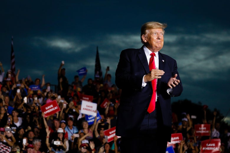 Former President Donald Trump arrives to hold a rally on July 3, 2021 in Sarasota, Florida.