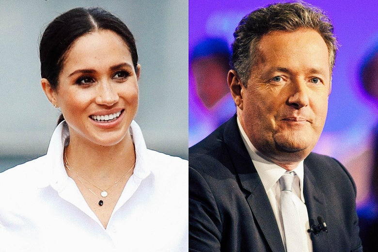 Meghan Markle on the left smiling and Piers Morgan on the right looking at the camera.