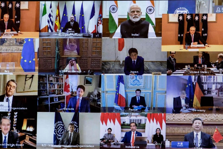 Video conference squares show world leaders in front of their countries' flags.