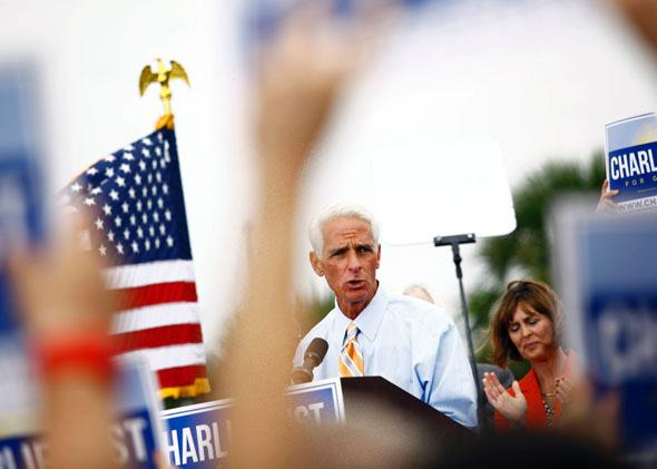 Former Florida Gov. Charlie Crist announces that he will run for Governor as a Democrat on November 4, 2013 in St. Petersburg, Florida.