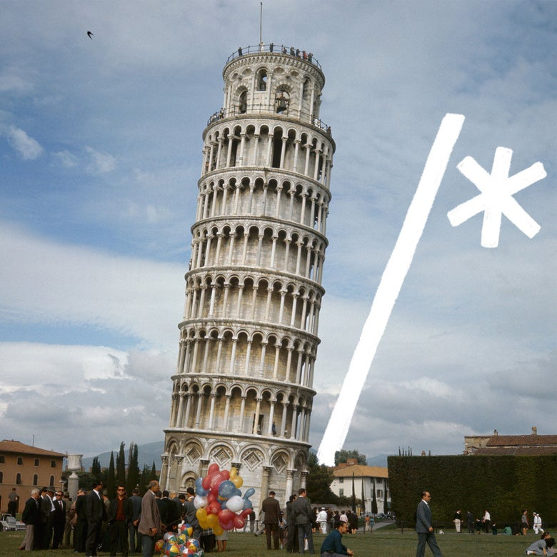 Leaning tower of Pisa with /* code.