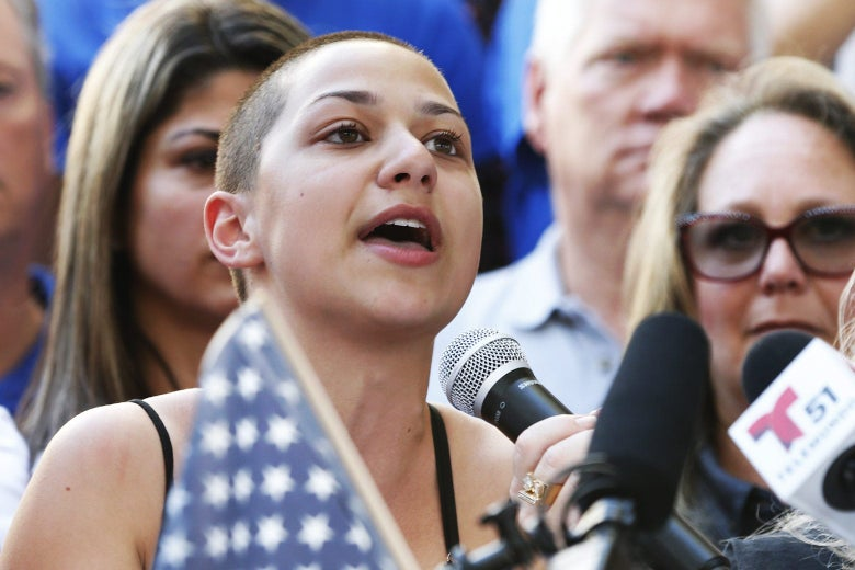 Marjory Stoneman Douglas High School student Emma Gonzalez speaks at a rally for gun control at the Broward County Federal Courthouse in Fort Lauderdale, Florida, on Saturday.
