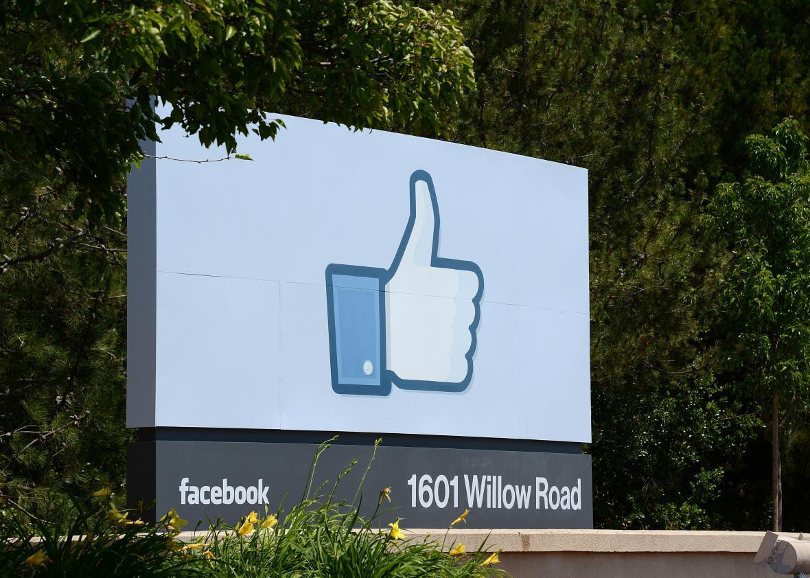 The sign at the entrance to the Facebook main campus