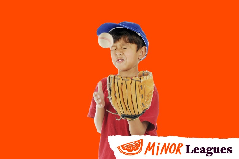 A child takes a baseball to the face.