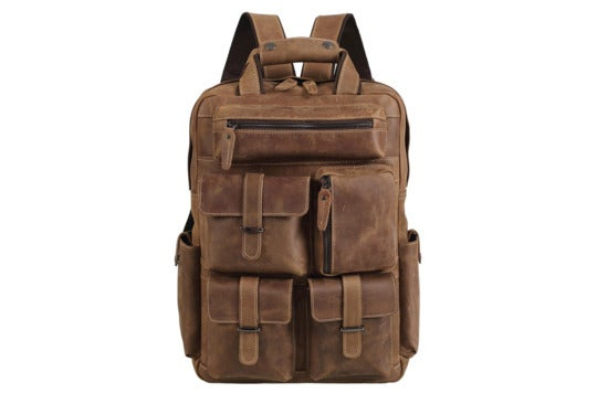 Polare leather laptop backpack.