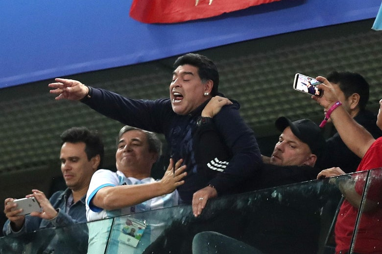 SAINT PETERSBURG, RUSSIA - JUNE 26:  Diego Armando Maradona celebrates Argentina's victory following the 2018 FIFA World Cup Russia group D match between Nigeria and Argentina at Saint Petersburg Stadium on June 26, 2018 in Saint Petersburg, Russia.  (Photo by Alex Morton/Getty Images)