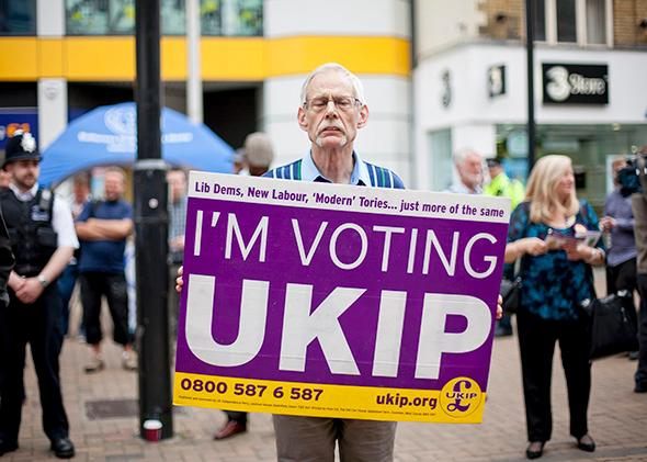 A UKIP supporter, May 20, 2014 in Croydon, England