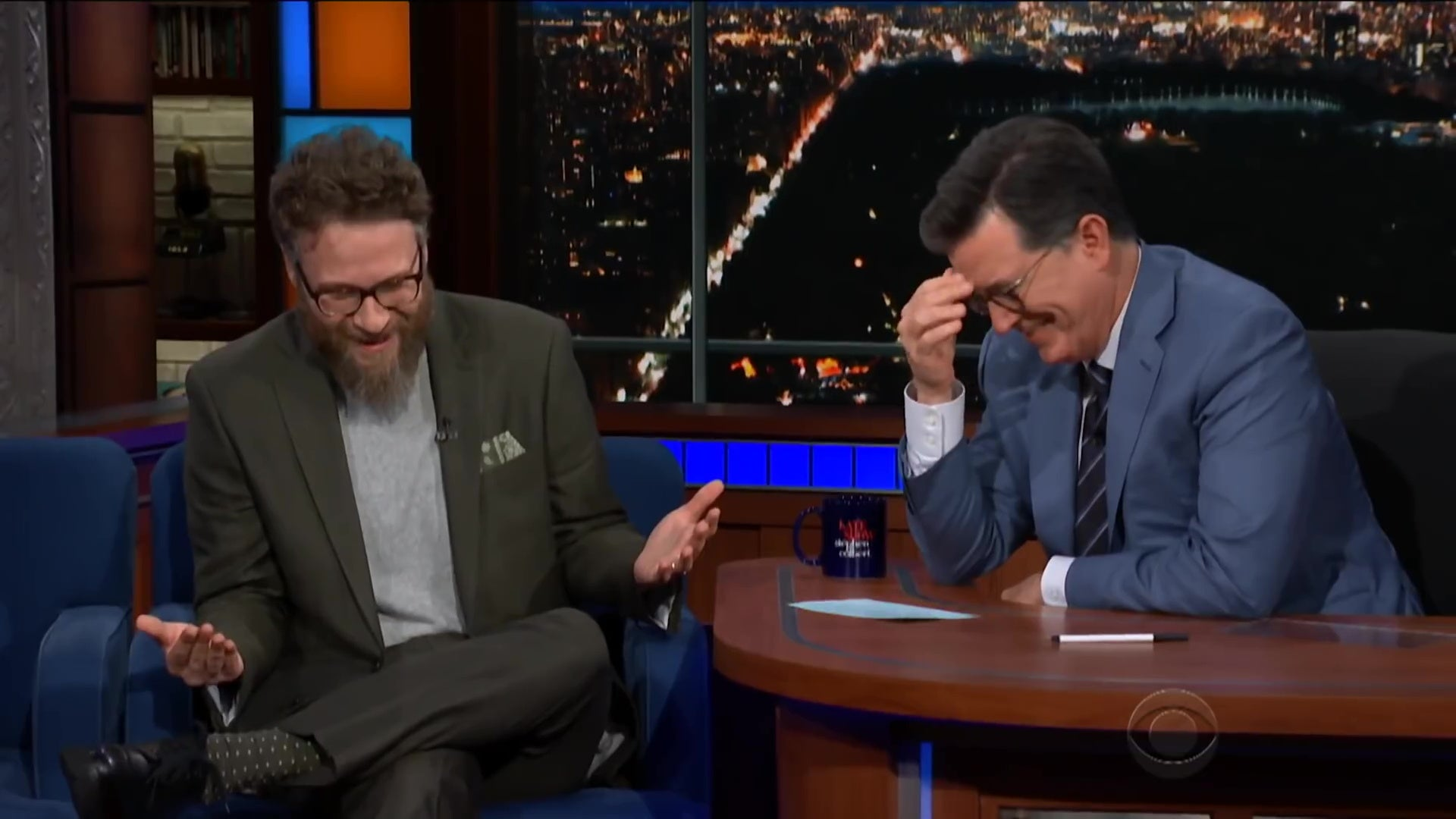 Seth Rogen talking to Stephen Colbert on The Late Show.