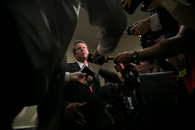 Brian Kemp addresses the media after winning the GOP nomination.
