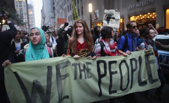 Occupy Wall Street demonstrators in the financial district of New York City.