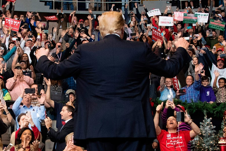 Donald Trump salutes his supporters.