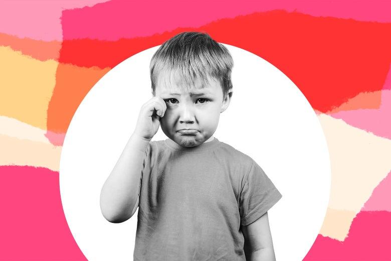 A boy crying.