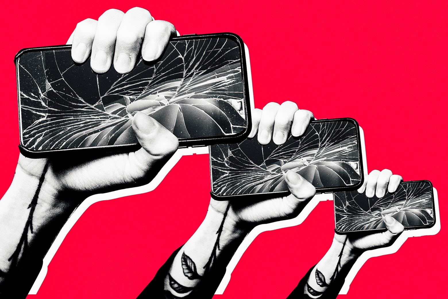 Revolutionary hands holding broken iPhones.