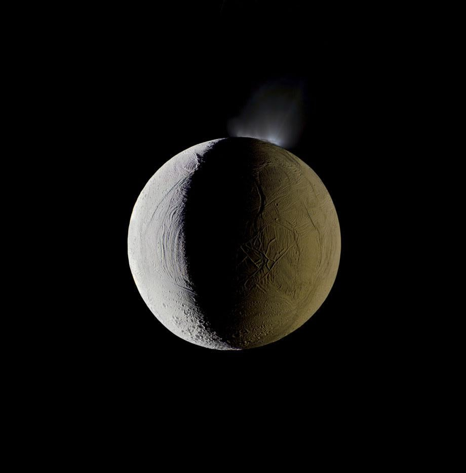Enceladus Geysers Water into Space, Cassini, Dec., 25, 2009, 2012, Credit: NASA/JPL-Caltech/Michael Benson/Kinetikon Pictures. (c) All Rights Reserved.