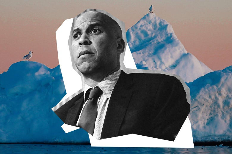 Cory Booker over an iceberg.