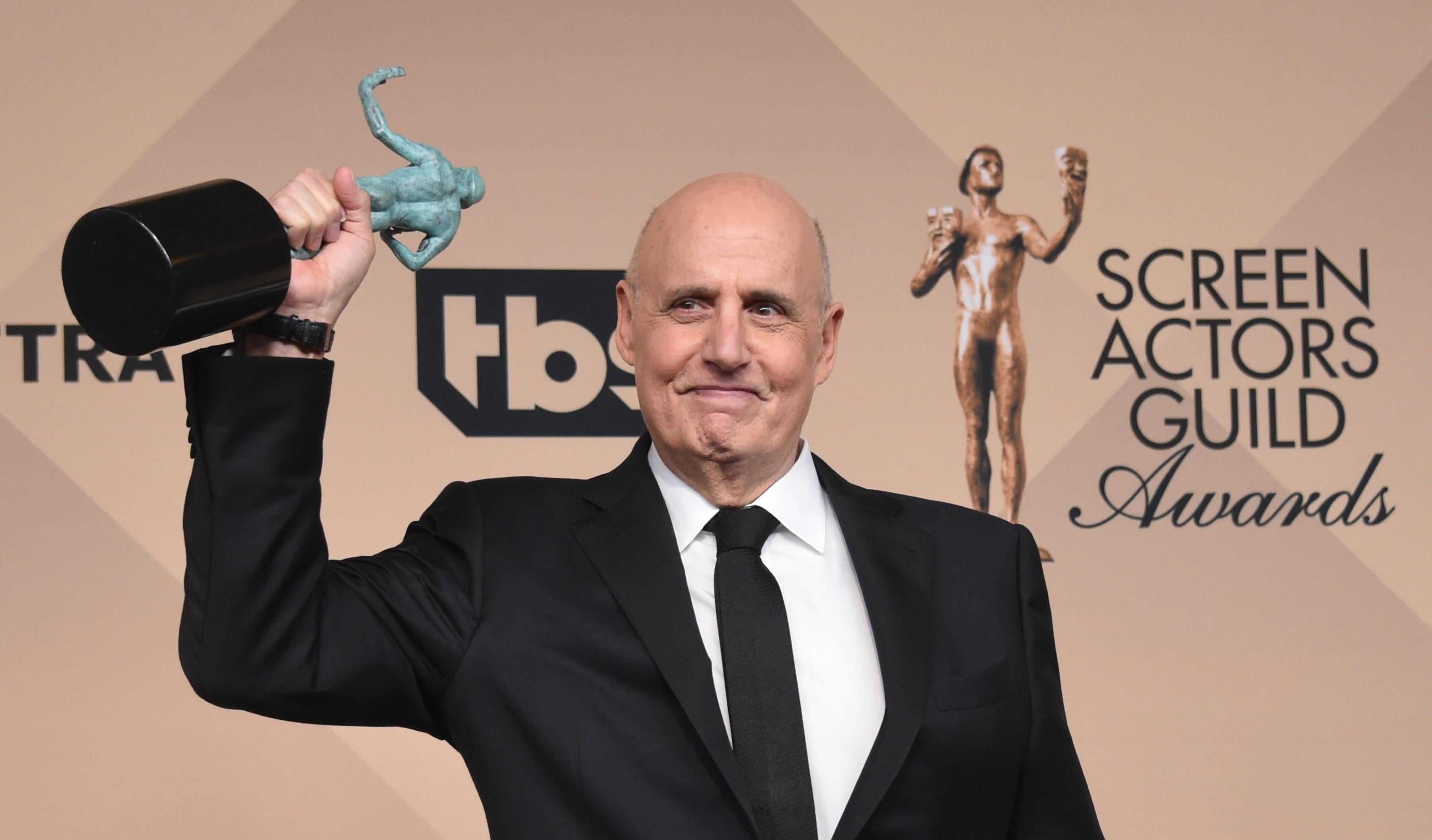 JeffreyTambor,  winning Actor for Outstanding Performance by a Male Actor in a Comedy Series for his performance as Maura Pfefferman on Amazons Transparent,  poses in the press room at the 22nd Annual Screen Actors Guild Awards at The Shrine Auditorium on January 30, 2016 in Los Angeles, California. / AFP / FREDERIC J. BROWN        (Photo credit should read FREDERIC J. BROWN/AFP/Getty Images)