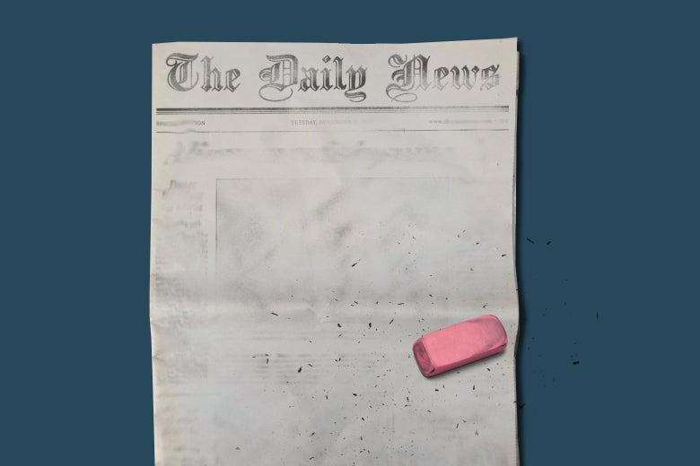 A front page of a newspaper that has been erased with a large pink erasure.