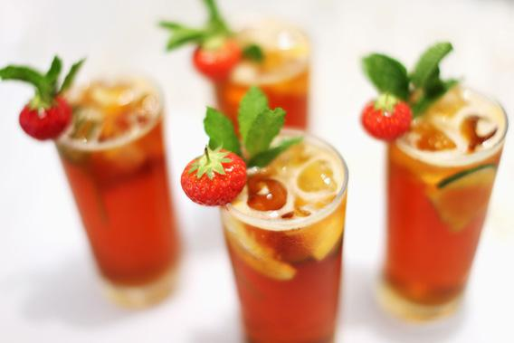 A general view of Pimms beverages at the All England Lawn Tennis and Croquet Club on June 27, 2012 in London, England.