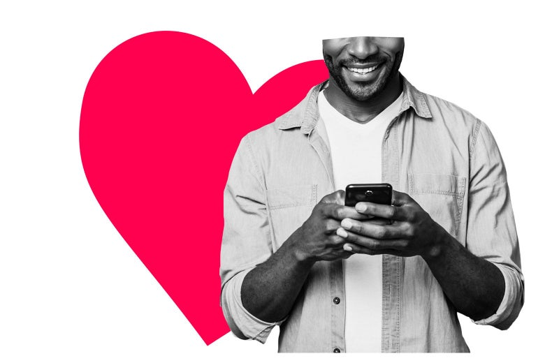 Smiling man typing on his phone, with a graphic of a heart behind him.