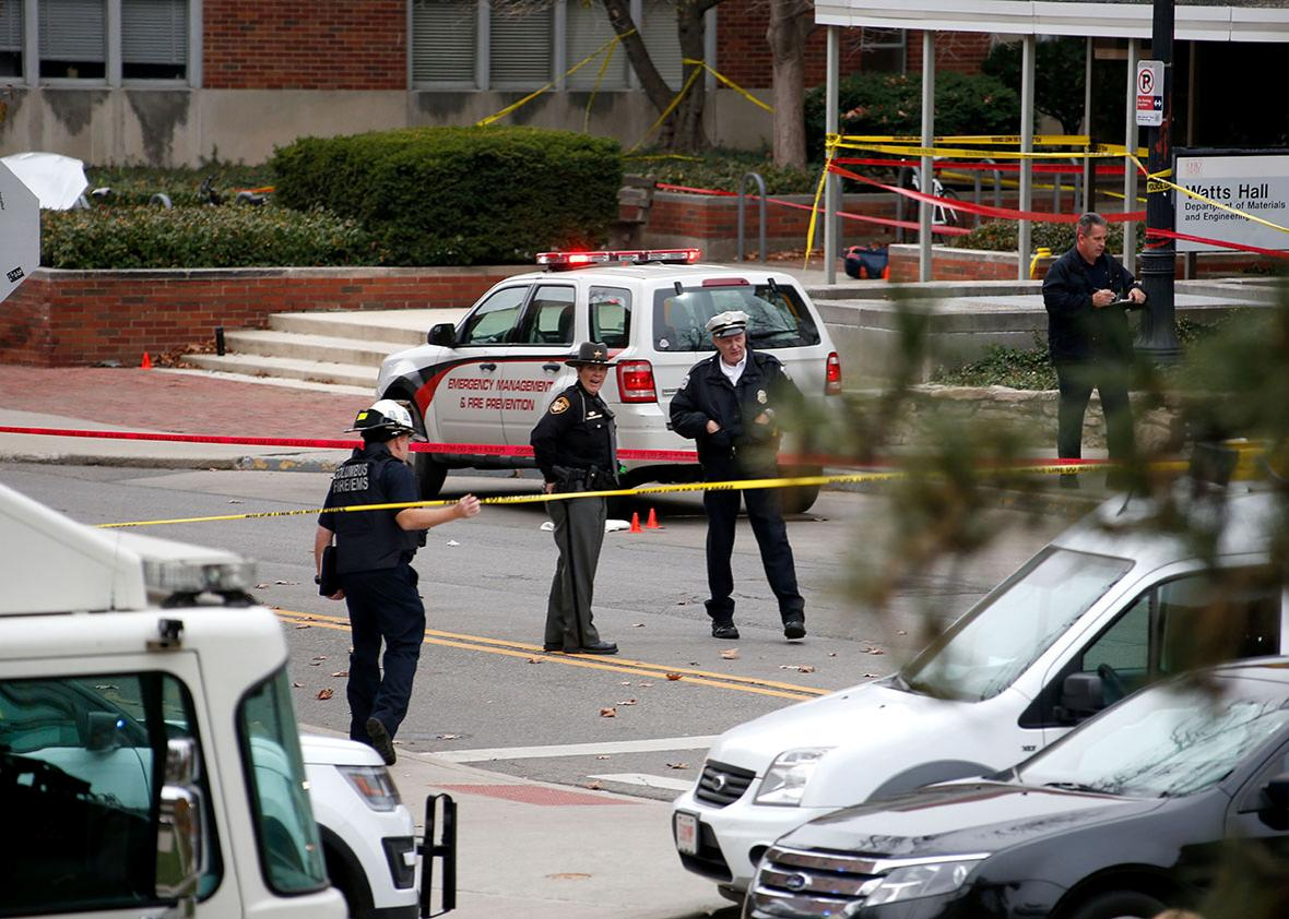Police keep the roads closed around Watts Hall following an attack on the campus of the Ohio State University on November 28, 2016 in Columbus, Ohio.