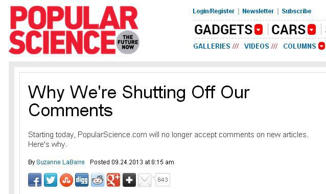 Popular Science thinks science journalism works better when people can't question it.