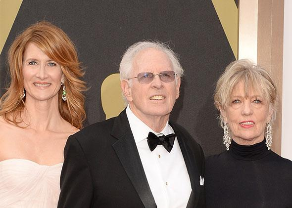Laura Dern, Bruce Dern and Andrea Beckett attend the Oscars on March 2, 2014 in Hollywood, California.
