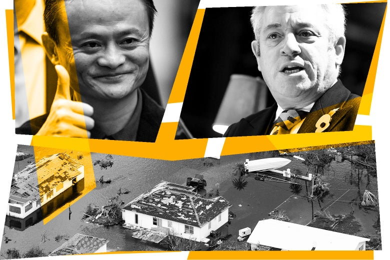 Collage of Jack Ma, John Bercow, and a view of the damage that Hurricane Dorian wreaked on the Bahamas