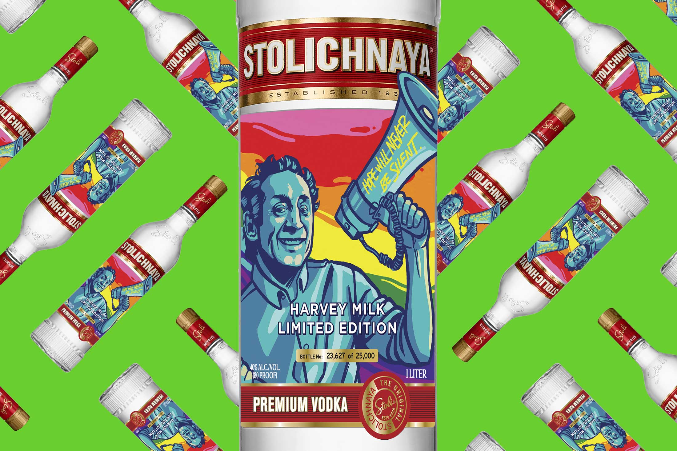Stoli bottle with Harvey Milk branding.