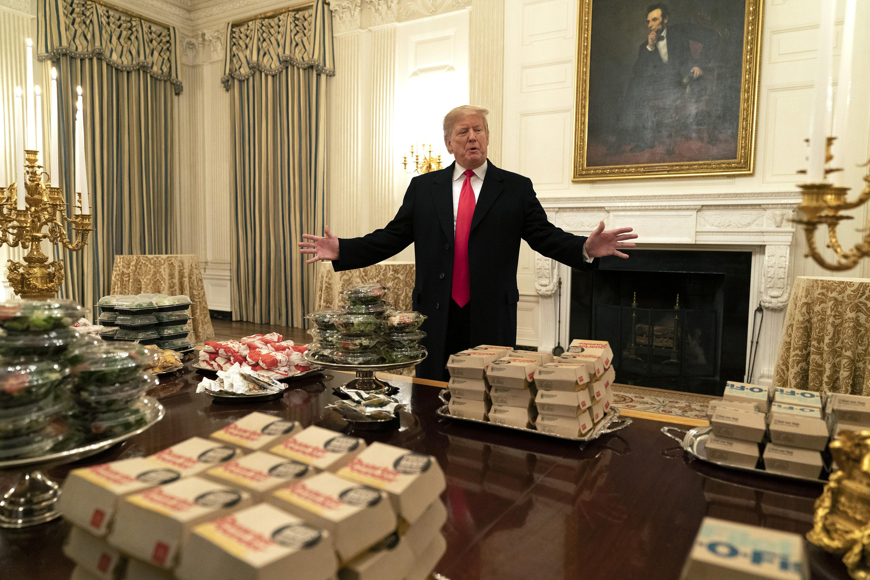 President Trump in front of the fast food to be served to the Clemson Tigers football team to celebrate their Championship at the White House on January 14, 2019 in Washington, DC.