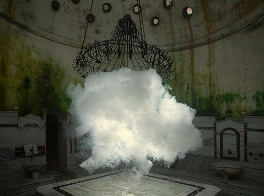 Berndnaut Smilde, Nimbus Cukurcuma Hamam I, 2012, cloud in room, c-type print on dibond, 125 x 184 cm, Courtesy the artist and Ronchini Gallery, Photo Onur Dag