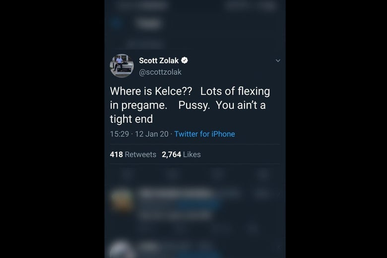 "The tweet says ""Where is Kelce? Lots of flexing in pregame. Pussy. You ain't a tight end"""