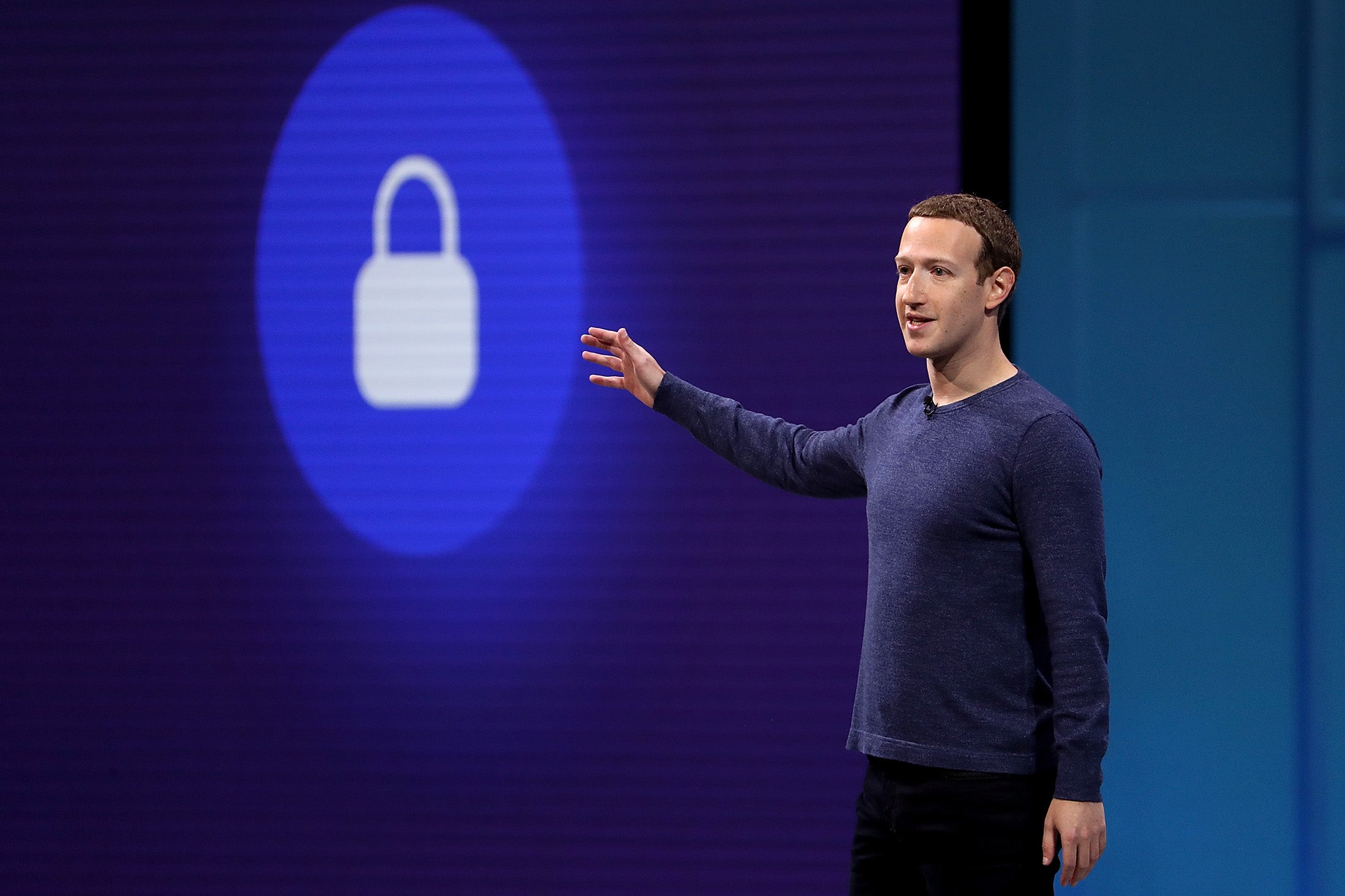Mark Zuckerberg speaks during the F8 Facebook Developers conference on May 1 in San Jose, California.