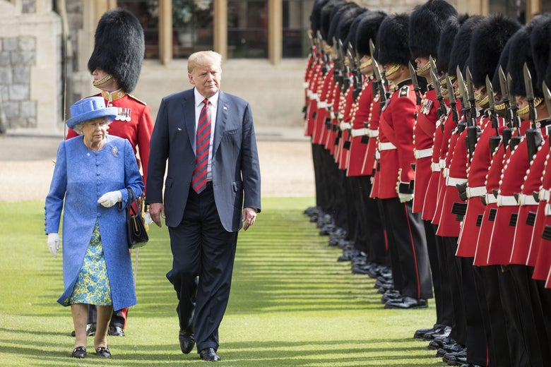 U.S. President Donald Trump and Britain's Queen Elizabeth II inspect a Guard of Honour.