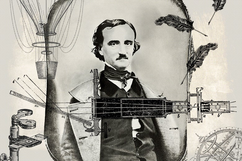 Collage of Edgar Allan Poe surrounded by drawings of old-timey inventions including a hot-air balloon